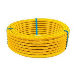 Eurotis tubazione CSST per gas in acciaio inox AISI 316L con rivestimento protettivo giallo in LPDE