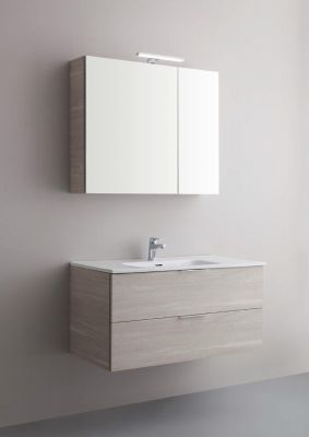 Arbi Petit mobile sospeso 100x49 con lavabo in ceramica, specchio e faretto
