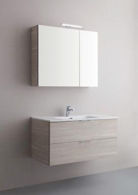 Arbi Petit mobile sospeso 100x49 con lavabo in mineralguss, specchio contenitore e faretto