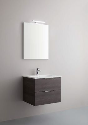 Arbi Petit mobile sospeso 60x49 con lavabo in mineralguss, specchio e faretto