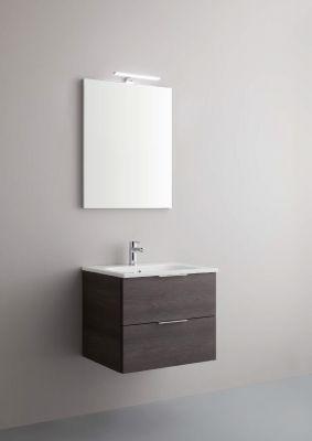 Arbi Petit mobile sospeso 60x49 con lavabo in mineralguss, specchio contenitore e faretto