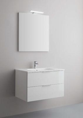 Arbi Petit mobile sospeso 80x49 con lavabo in mineralguss, specchio contenitore e faretto
